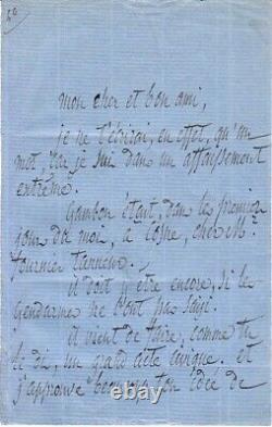 Armand BARBES, Homme politique, Révolutionnaire, 1870, Lettre Autographe Signée