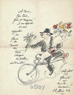 Art André VILLEBOEUF lettre autographe signée dessin cycliste bonne année encre