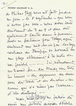 Art Pierre BALMAIN Lettre autographe signée à sa chère Anna couturier