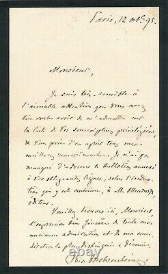 Arthur PAVLOVITCH baron de MOHRENHEIM diplomatie Russe lettre autographe signée