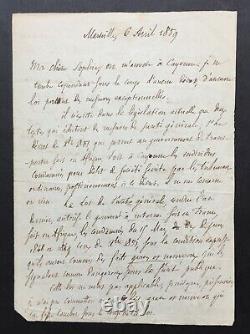 Auguste BLANQUI Rare lettre autographe signée Exil à Cayenne 1859