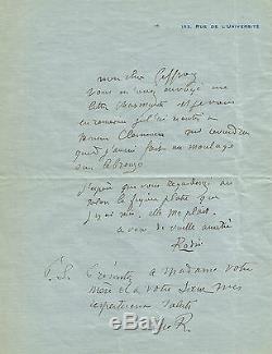 Auguste RODIN Lettre autographe signée relative au buste de Georges CLEMENCEAU