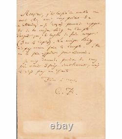 BAUDELAIRE Charles. Poète. Lettre autographe signée à son copiste Ed. Laumonier