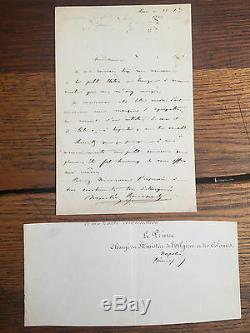 BONAPARTE (Jérôme Napoléon). Lettre autographe signée et datée 25 octobre 1845