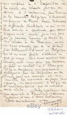 Belle lettre autographe signée Fernandel signed dédicace CINEMA ACTEUR 58 CARRY
