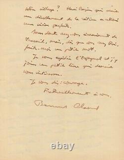 Bernard CLAVEL lettre autographe signée Dieu L'Homme Le Monde