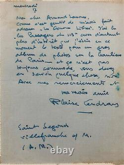 Blaise CENDRARS Lettre autographe signée / Robert Doisneau