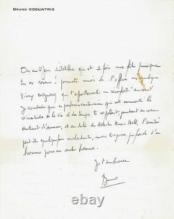 Bruno COQUATRIX / Lettre autographe signée à Jacques BREL / Olympia