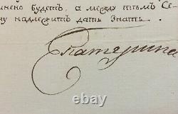 CATHERINE II Impératrice russe Lettre signée Education Sénat 1766