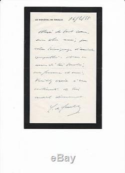 CHARLES DE GAULLE (1890-1970) RARE LETTRE AUTOGRAPHE SIGNEE DE 1948 J440m