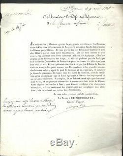 CHASSE aux LOUPS. Signé Alexandre Prince de Neuchâtel, Louveterie. 1808