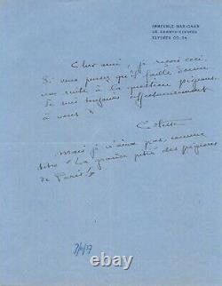COLETTE Lettre autographe signée Paris