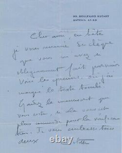 COLETTE écrivaine lettre autographe signée André CHAUMEIX corrections épreuves