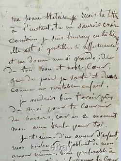 COUTURE Lettre d'amour à Héloïse Florentin E. O AUTOGRAPHE 1843