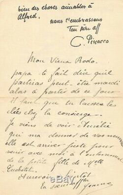 Camille PISSARRO Lettre autographe signée. Ses peintures et son arrivée à Paris