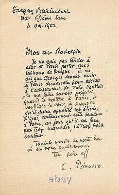 Camille PISSARRO / Lettre autographe signée sur l'enterrement d'Emile ZOLA. 1902