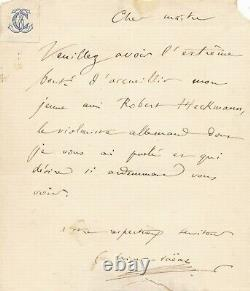 Camille SAINT-SAËNS compositeur, pianiste lettre autographe signée Heckmann