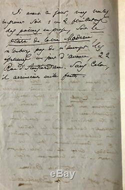 Charles BAUDELAIRE Belle lettre autographe signée à Mario Uchard (1863)