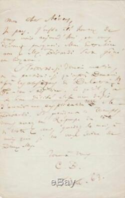 Charles BAUDELAIRE Lettre autographe signée Eugène DELACROIX BELGIQUE
