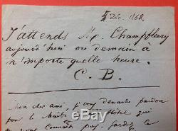 Charles BAUDELAIRE Lettre autographe signée deux fois