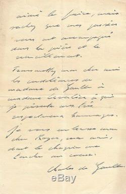 Charles DE GAULLE Lettre autographe signée à R. Cavalier. 1936. Condoléances