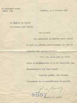Charles DE GAULLE Lettre signée au Colonel Leader. 3 juillet 1940. Autographe