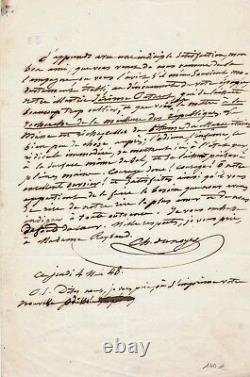 Charles DUNOYER lettre autographe signée Jérôme Paturot Louis REYBAUD