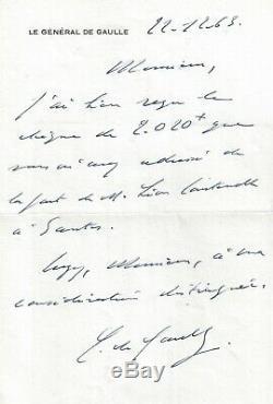 Charles De Gaulle-président-lettre Autographe Signée-santes-coustenoble