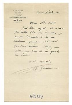 Charles GARNIER / Lettre autographe signée / Mot d'excuses / Opéra de Paris