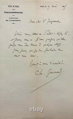 Charles GOUNOD Lettre autographe signée à Edmond d'Ingrande