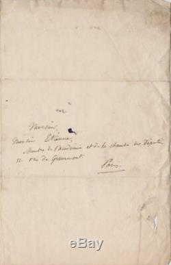 Charles-Gaspard DELESTRE-POIRSON Lettre autographe signée Budget Théâtre