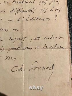 Charles Gounod lettre autographe signée à Léopold Ketten 1884
