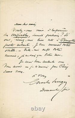 Charles Hugo Rare Lettre autographe signée Victor Hugo Les Miserables