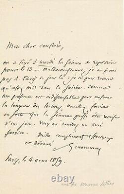 Charles LENORMANT archéologue numismate lettre autographe signée réunion 1859