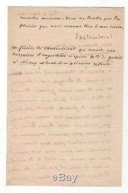 Chateaubriand / Lettre Signée (1841) / Son Voeu D'être Enterré Au Bord De La Mer