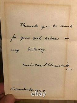 Churchill Winston Lettre Autographe Signee 1949 Anniversaire Rarissime