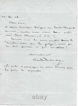 Claude DEBUSSY Lettre autographe signée Opéra Pelléas et Mélisande