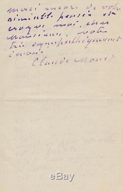 Claude MONET / Lettre autographe signée