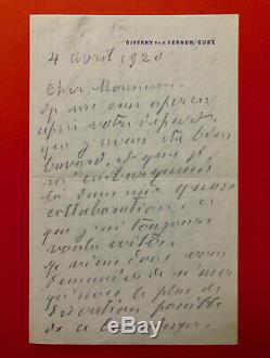 Claude MONET Lettre autographe signée à François Thiebaut-Sisson