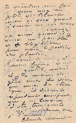 Claude MONET Lettre autographe signée à son épouse sur les cathédrales de Rouen
