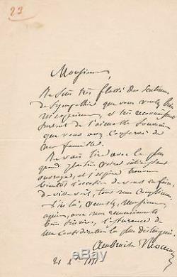 Compositeur Ambroise Thomas Lettre autographe signée Alexis de Garaudé 1851