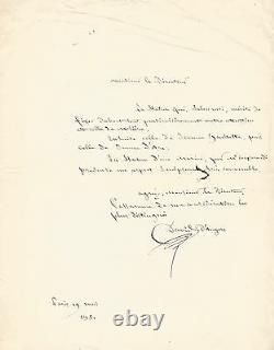 DAVID DANGERS Lettre autographe signée. Les statues de MOLIERE et JEANNE D'ARC