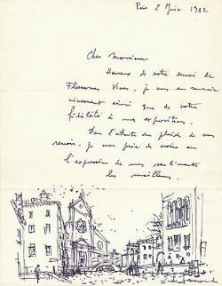 Daniel du JANERAND lettre autographe signée illustrée dessin