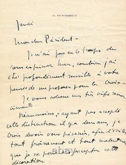 Dunoyer de Segonzac refus décoration à Frantz Jourdain lettre autographe signée