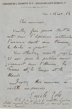 EMILE ZOLA Lettre autographe signée sur son premier roman Contes à Ninon
