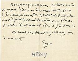 Edgar DEGAS / Lettre autographe signée à propos de ses danseuses et Delacroix