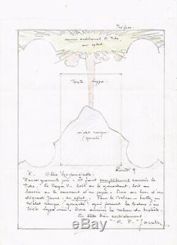 Edgar P. JACOBS Lettre autographe signée et dessin original. Le Rayon U. Tintin