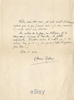 Edmond ROSTAND / Lettre autographe signée à propos de CYRANO DE BERGERAC