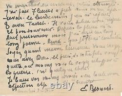 Émile BERNARD très belle lettre autographe signée amitié guerre religion