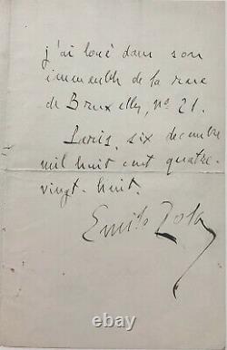 Émile ZOLA Lettre autographe signée (1888)